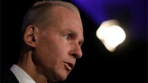 Boeing's Dennis Muilenburg at news conference at agm in Chicago
