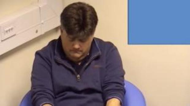 A still from the video of Carl Beech's police interview