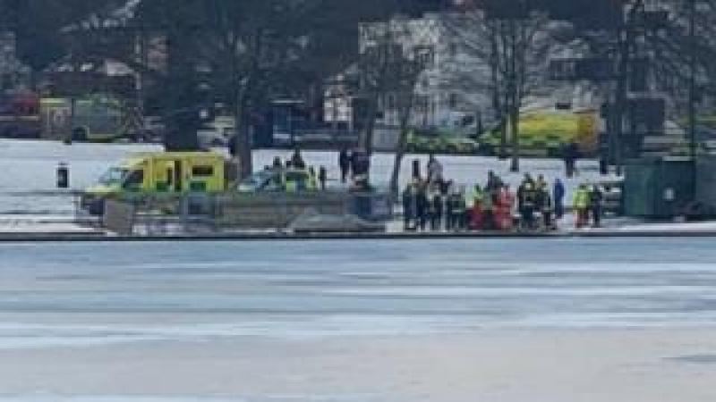 Ambulance attending Danson Park lake