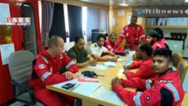 Crew members on the Stena Impero