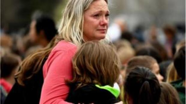 Distressed parent after a school shooting