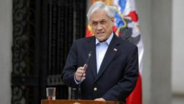 Chilean President Sebastián Piñera addresses the nation in Santiago