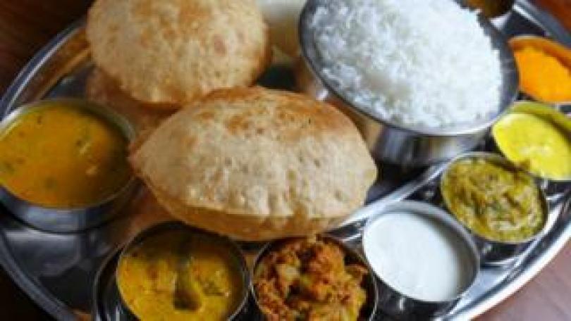 Indian vegetarian thali plate
