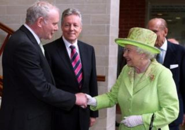 Martin McGuinness shakes hands with the Queen in Belfast in 2012