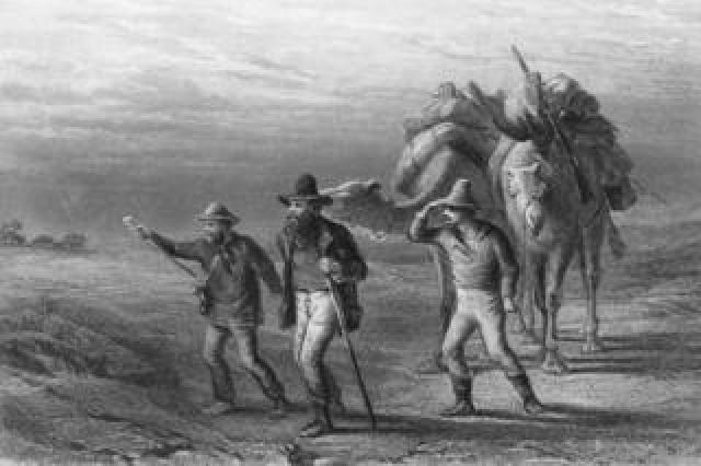 Robert Burke, William Wills and John King approaching Coopers Creek in 1861