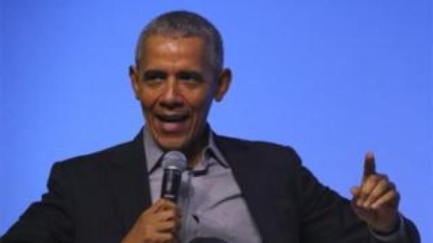 Former US president Barack Obama talks on stage at an Obama Foundation event in Kuala Lumpur, Malaysia, 13 December 2019.