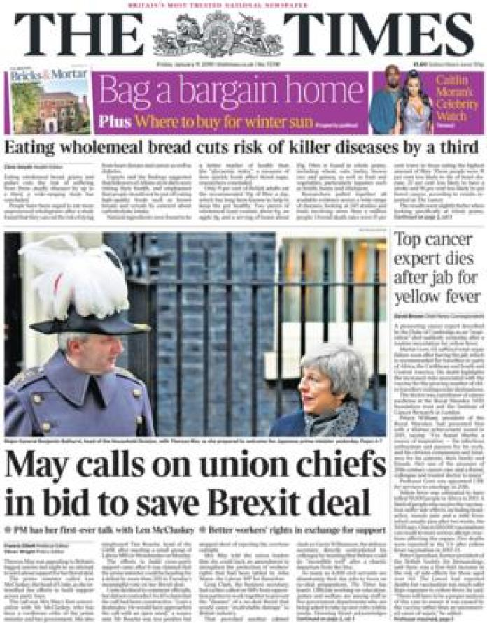 Times front page, 11/1/19
