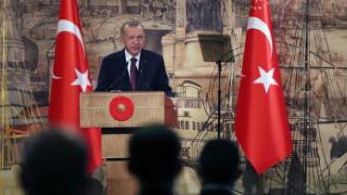 President Erdogan addressing reporters on August 21 2020