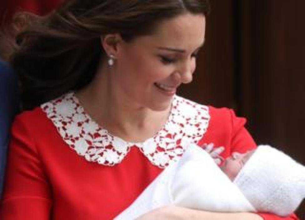 The Duchess of Cambridge departs the Lindo Wing with her new born son Prince Louis of Cambridge