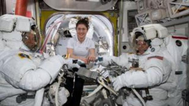 Astronauts Nick Hague, Christina Koch and Anne McClain