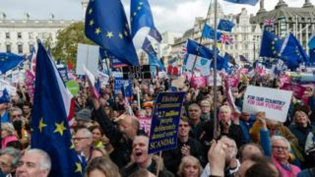 Anti-Brexit marchers rally in London 19 Oct