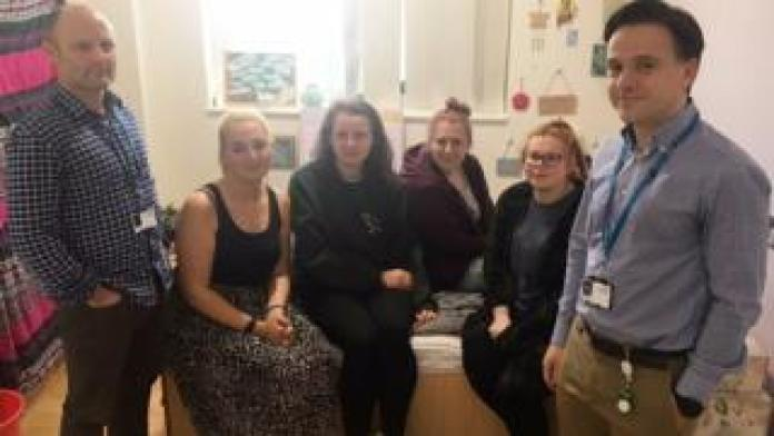 Staff and patients at Fulbourn Hospital, Cambridge