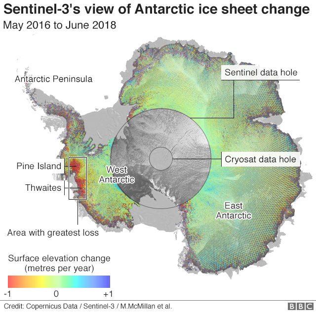 Sentinel-3's view of Antarctica
