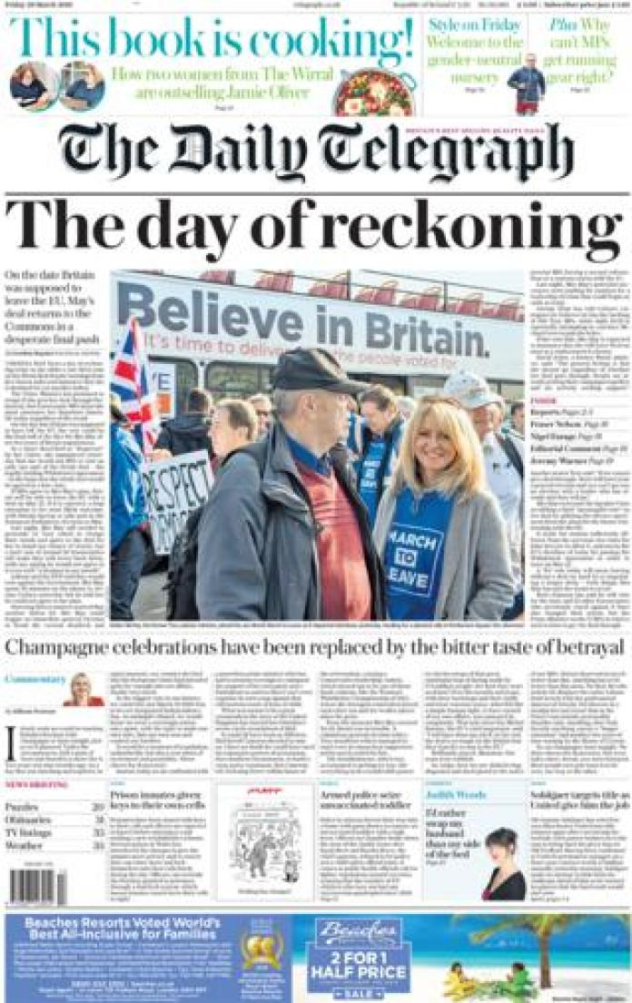 The Daily Telegraph front page, 29/3/19