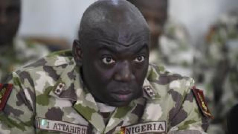 Commander of the Operation Lafiya Dole Major General Ibrahim Attahiru speaks at the army headquarters, in Maiduguri, Borno State in northcentral Nigeria, on October 4, 2017