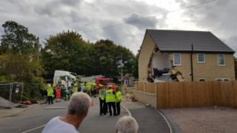 House struck by lorry in Barnsley