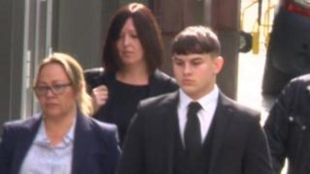 Joshua Molnar arrives at court during the trial