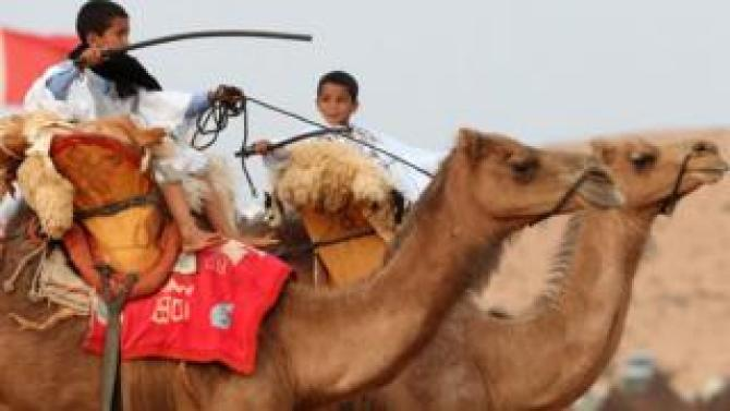 Boys ride camels at Tan-Tan Moussem Berber in Tan-Tan, Morocco - Friday 6 July 2018