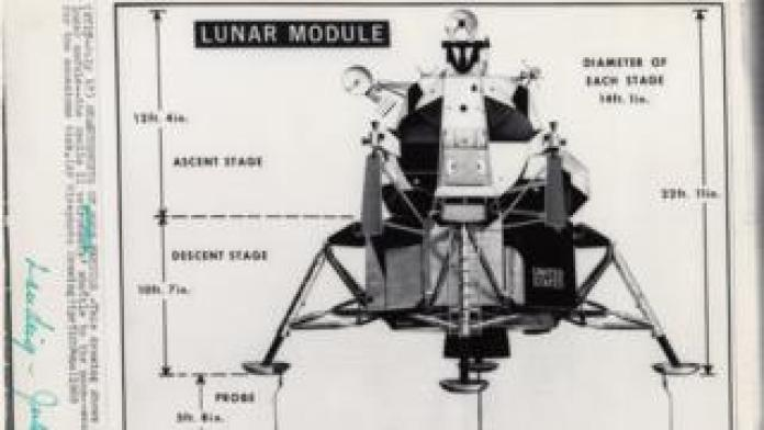 Drawing of lunar module used by newspapers to explain the technical aspects of the Apollo 11 land vehicle spacecraft, from the Alan Paris Collection
