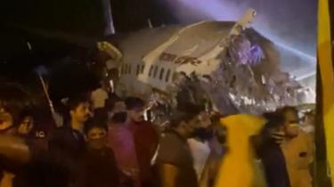 A picture showing the aircraft after it crashed at at Calicut airport in Kerala