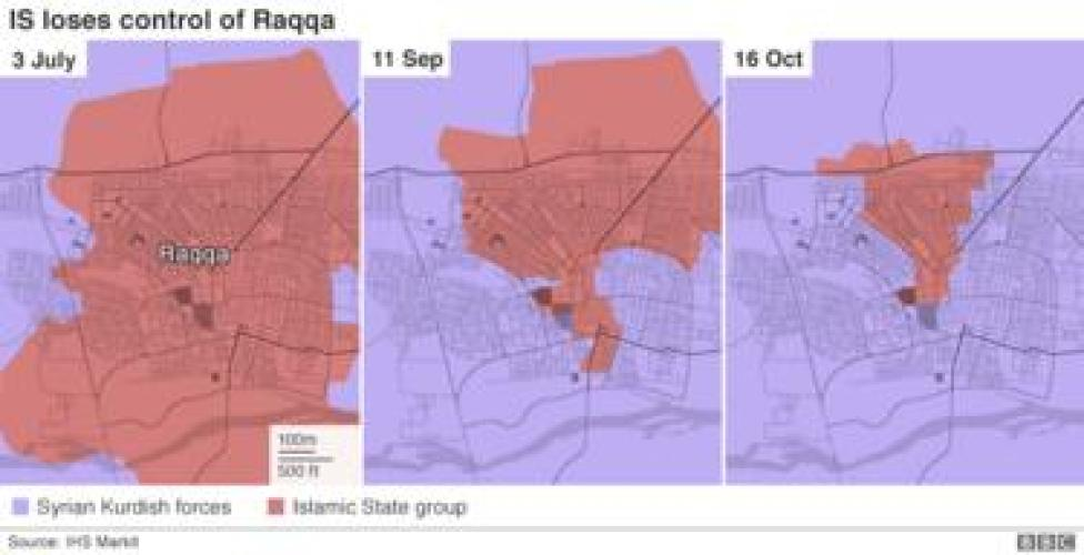 Triptych showing how IS lost control of Raqqa over the past four months