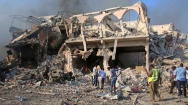 Scene of a massive explosion is seen in the capital Mogadishu, Somalia - 14 October 2017