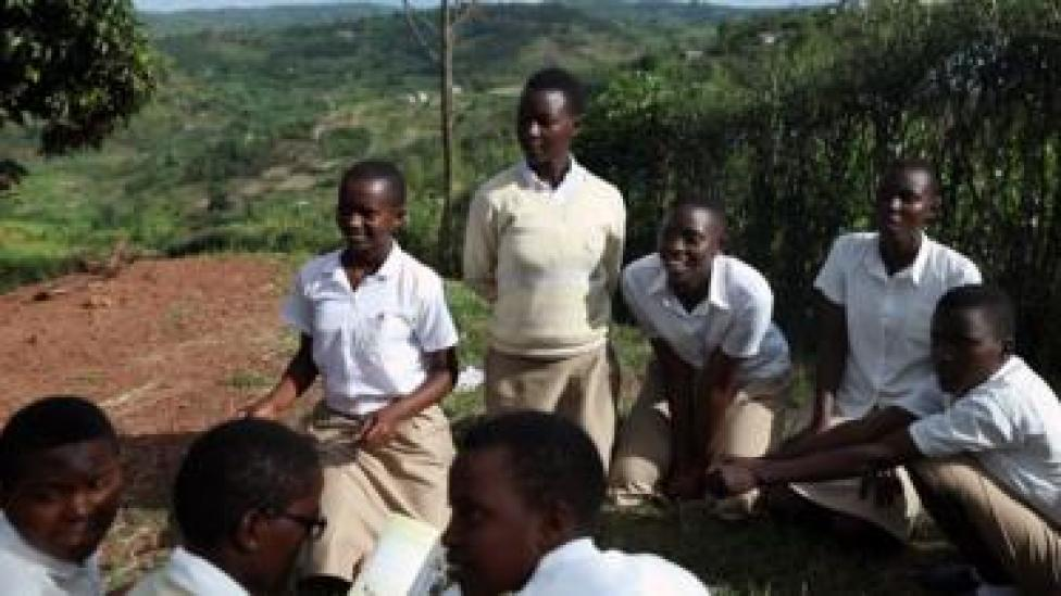 Students gather outside the Safe School for Girls to discuss issues facing girls and women in Rwanda