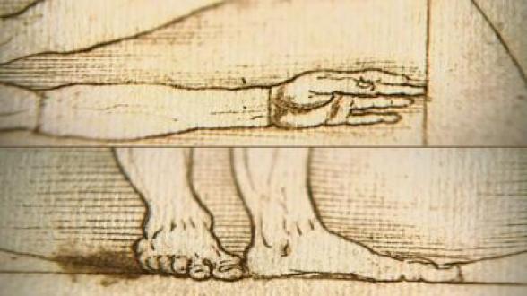 Mano tocando lado del cuadrado y pies sobre la base del círculo y cuadrado.