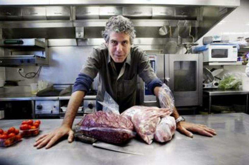 Anthony Bourdain in his restaurant