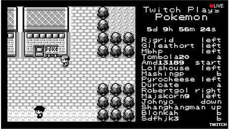Screenshot of Twitch plays Pokemon