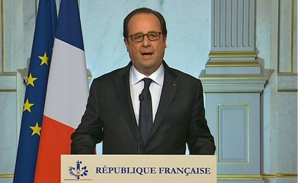 French President Francois Hollande makes a televised address in Paris early on 15 July 2016.