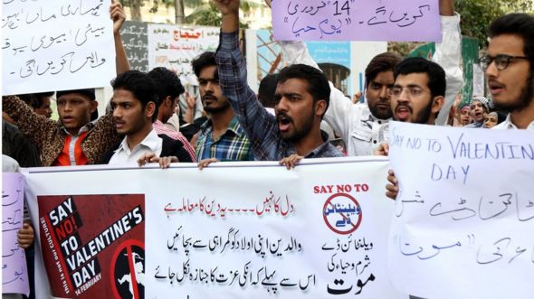 People shout slogans during a protest against Valentine's Day in Karachi, Pakistan, 12 February 2017