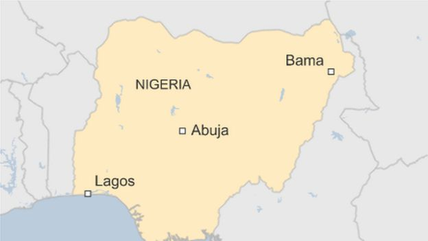 Map of Nigeria, showing Bama in the northeast, relative to capital Abuja and big city Lagos