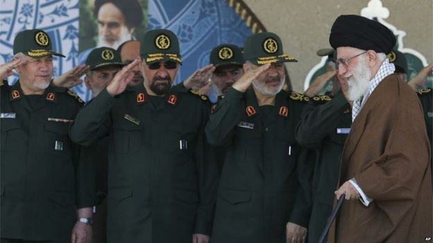 Revolutionary Guards in Iran at graduation ceremony, 20 May 2015