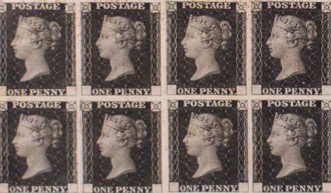 The first Penny Black stamp proof sheet, featuring Queen Victoria in profile
