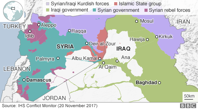 Map showing control of Syria and Iraq (20 November 2017)