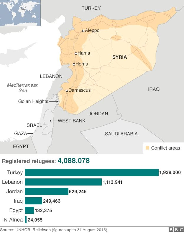 Map: Refugee numbers in Syria's neighbouring countries