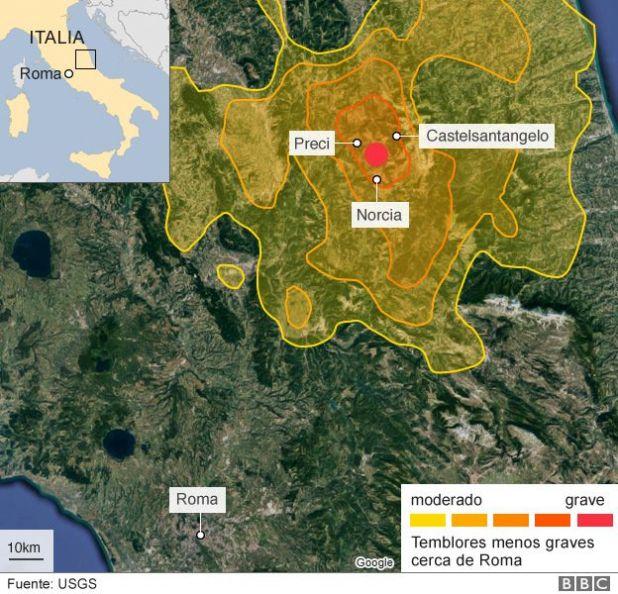 Mapa de Italia con terremotos.