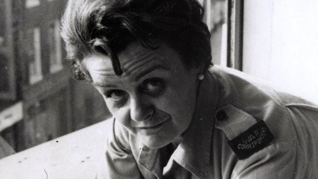 Clare Hollingworth in her war correspondent's uniform - note the shoulder flash