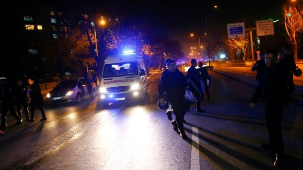 Ambulance arrives after an explosion in Ankara