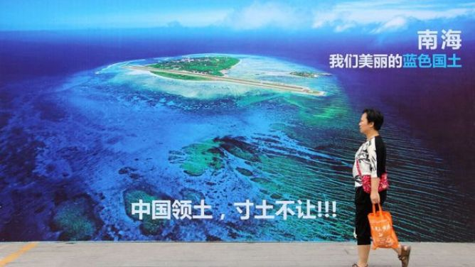 Hình ảnh đảo Phú Lâm được trưng bày trên đường phố Trung Quốc