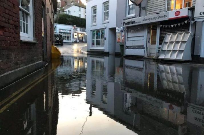 Flooded street in Mevagissey