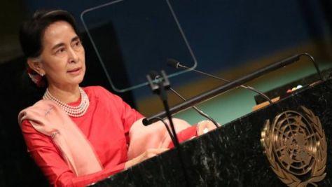 2016年の国連総会で演説するスーチー氏