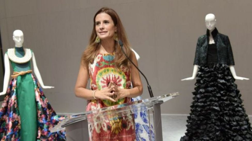 Livia Firth speaking at the Eco-Age Commonwealth Fashion Exchange US Debut