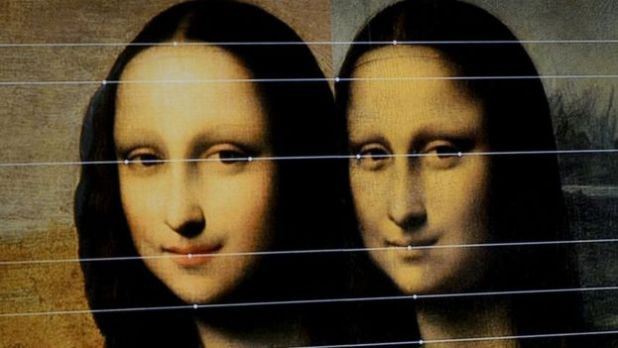 A comparison between the two painting displayed by the Mona Lisa Foundation at a presentation in Geneva, Switzerland