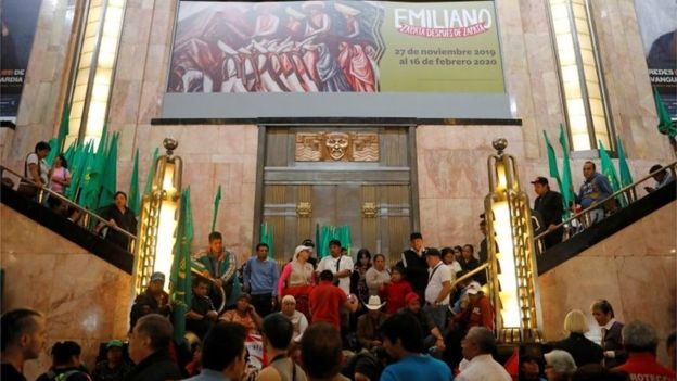A group of protesters occupies the Palace of Fine Arts in Mexico City