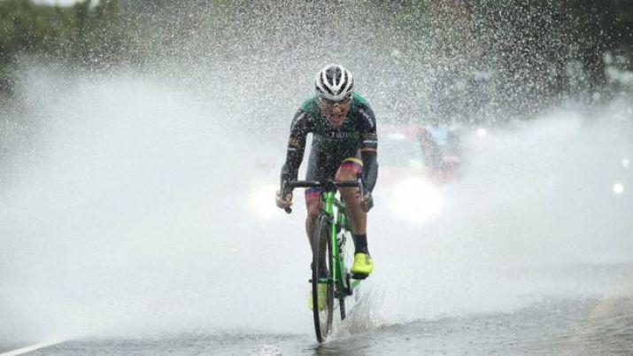Cyclist in rain