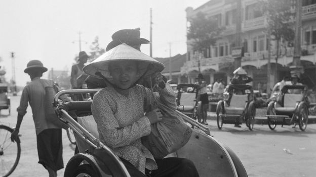 Pedicabs on the road connecting Saigon with Cholon