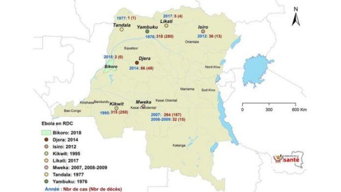 Les différentes flambées d'Ebola en RDC ( Lieux, nombre de cas et de décès).