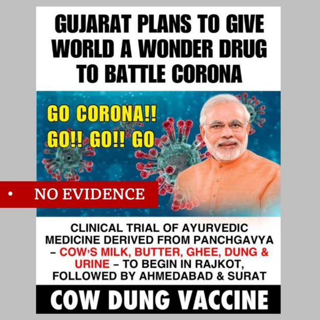"""Facebook post featuring image of Indian PM Narendra Modi about plans for a vaccine based on cow dung. Labelled """"no evidence"""""""
